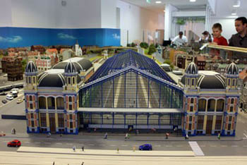 a scale model of the Nyugati Train Station