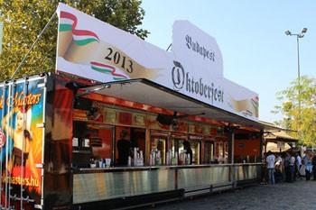 a beer pavilion on the 1st Oktoberfest at Kopaszi Dam