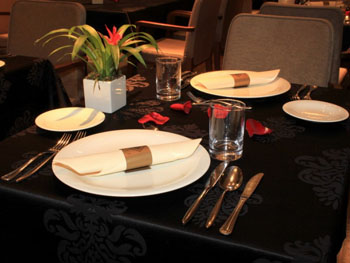 table set for two in Araz Restaurant