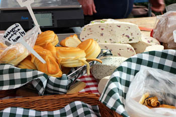 various cheeses on a green-white checkered cloth
