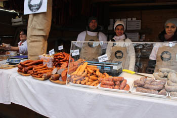 one of the exhibitors - a young couple offering sausages, salamis to buy