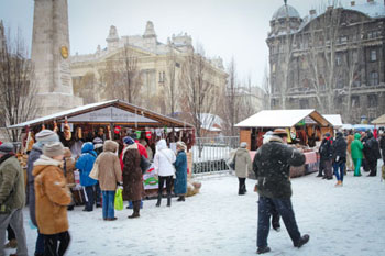 snow covered Szabadsag square