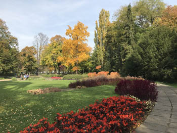 flower beds, autumn coloured trees at the edge of a large green field