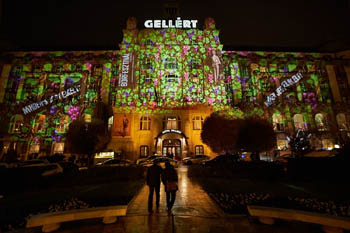 a light painting of grapes on the facade of Hotel Gellert, at night