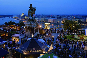 the wine festival in the courts of Buda castle at dusk