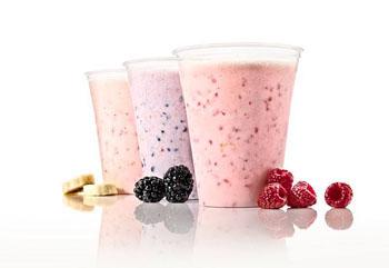 banana, blackberry, raspberry sorbet in cups