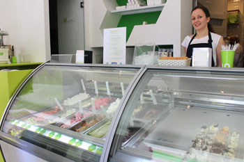 ice cream counter in MAMO gelato