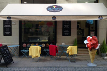 the terrace and entrance of Zimmo Ice Cream Shop