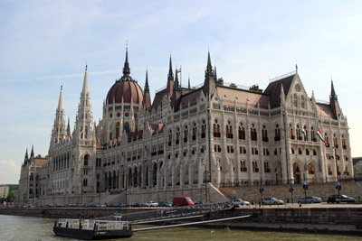 the Parliament photographed from a boat on the Danube