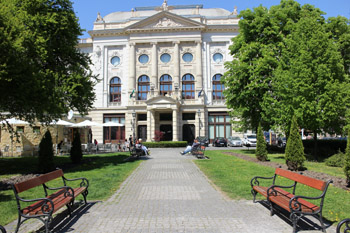 the park at Corvin Sqr with the Budai Vigado hall