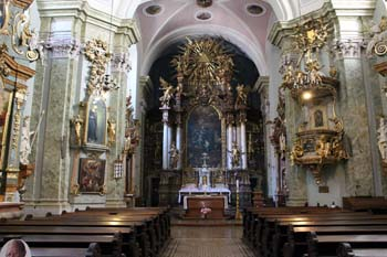 the baroque interior of the Inner City St. Anne Church