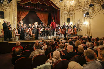 orchestra on the stage of the Danube Palace's theatre hall