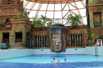 a pool in front of the Maya temple in Aquaworld