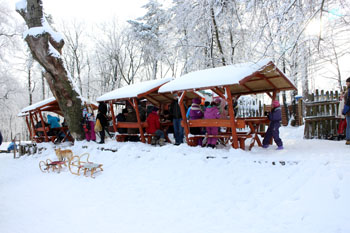 people having tea and snacks at a wooden buffet stall