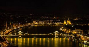 panoramic view of the Danube and the Chain bridge at night