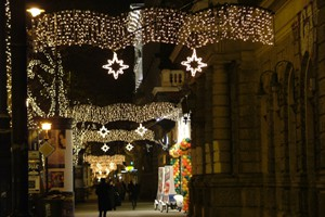 Christmas in Vaci street with festive lights