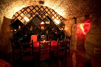 tasting area in the Faust Cellar