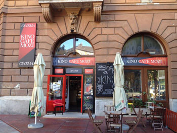 the terrace and entrance of Kino Cafe