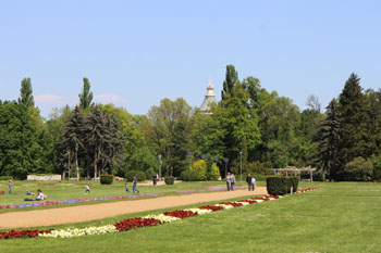 a large meadow with flower beds, the tip of the Water tower in the background