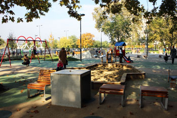 playground in the park on an autumn day