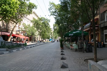 tree-lined street with terraced cafes