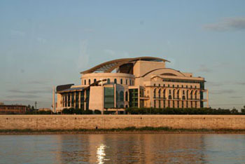 the National Theatre at sunset from the boat