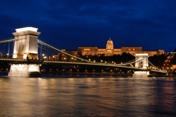 the Danube and Chain Bridge at night