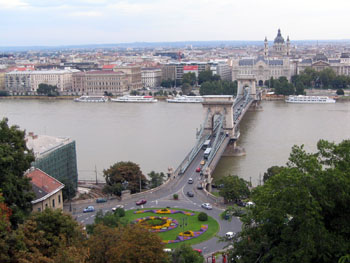 panoramic view of the Chain Bridge and the Basilica from Buda