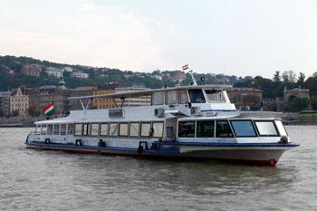 a white tour boat on the danueb
