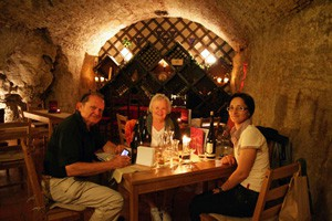 friends and me tasting wines in a Buda castle cellar