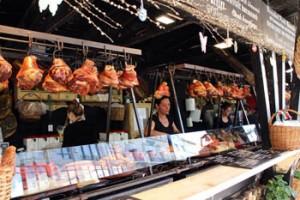 pork knuckles hanging down at a food cottage
