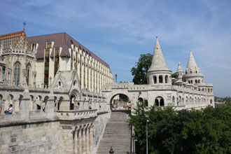 part of Fishermen's bastion and the Hilton Hotel Buda castle