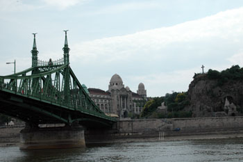 part of the green Liberty Bridge, the Gellert Bath and the hill
