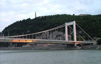 Gellért Hill in Buda and the Erzsébet bridge