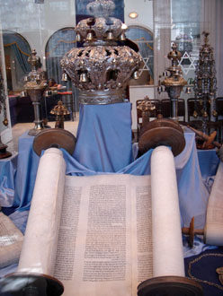 a Torah on display in the Jewish Museum