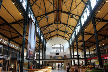 the iron structure and airy interior of the market