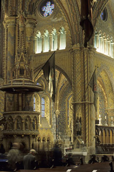 the gilded interior of Matthias Church