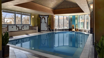 indoor swimming pool in Kempinski Corvinus hotel