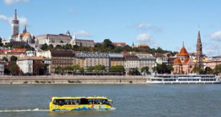 yellow Riverride bus/boat in the Danube