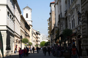 Váci street with the tower of St. Michael Church