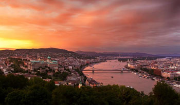 the Danube at sunset in summer
