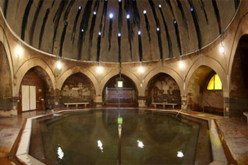 Domed interior of the Kiraly Bath