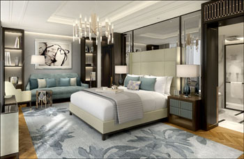 one of the suites in The Ritz Carlton Budapest with King bed