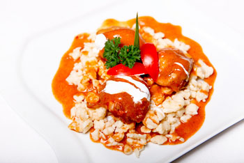 chicken paprikash with dumplings on a white plate