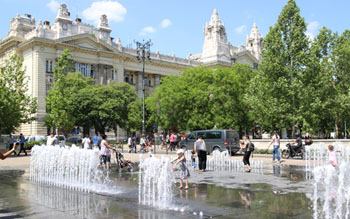 fountain on the square in summer