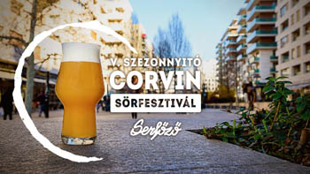 the poster of the festival: a beer glass full of light beer placed on the tarmac