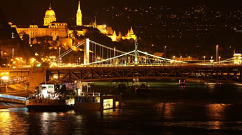 view of Elizabeth bridge and Buda Castle illuminated at night