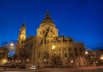 the Basilica side view at the blue hour