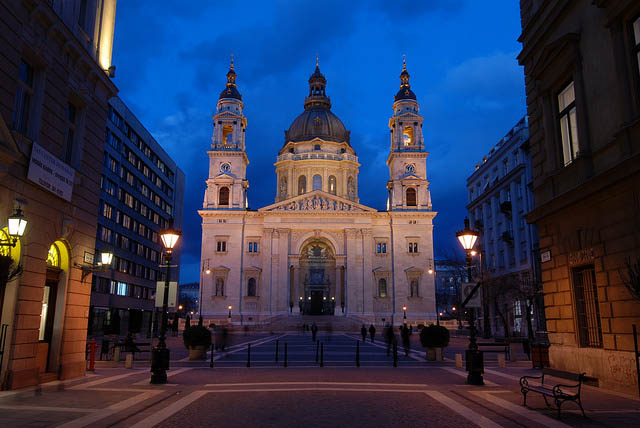 Basilica front view at the blue hour