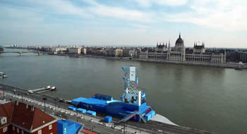 diving tower at the Danube bank, the Parliament in Pest on the other sid eof the river